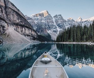 boat, mountain, and nature image