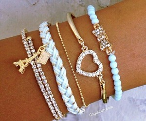 blue, bracelets, and eiffel image