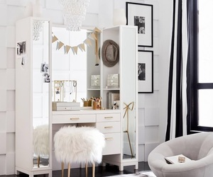 bedroom, decor, and dressing table image