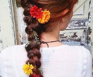 braid, flowers, and hair style image