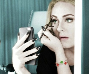 iphone, makeup, and Adele image