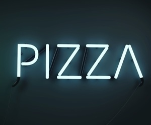 pizza, neon, and food image