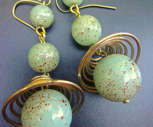 art glass, drop, and earrings image