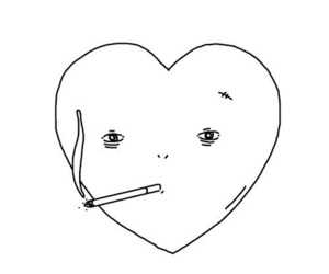 heart, smoke, and cigarette image