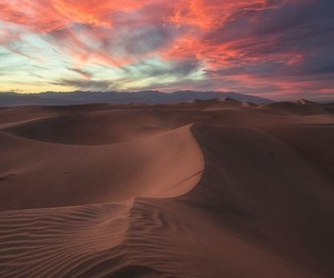 sunset, sky, and desert image