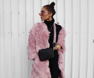 pink, coat, and fashion image