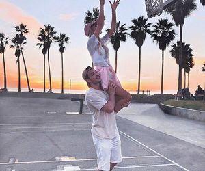 Basketball, couple, and sky image