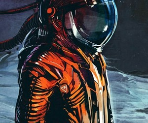 artistic, grunge, and space man image