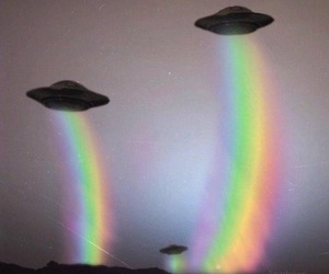 rainbow, alien, and ufo image