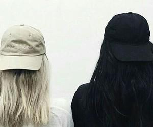 black hair, blonde hair, and cap image