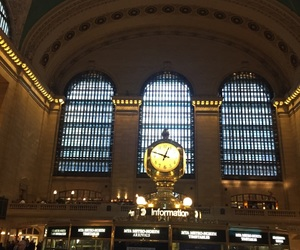 clock, grand central station, and nyc image