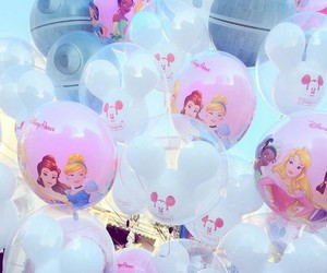 baby blue, baby pink, and balloons image