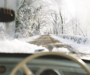 driving, photography, and snow image