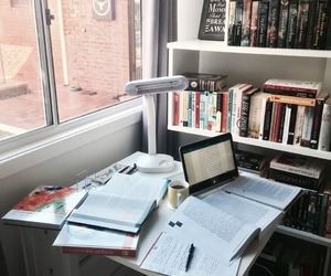 books, studying, and desk image