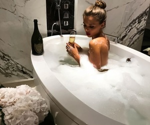 girl, luxury, and bath image