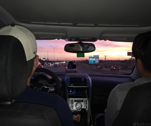 roadtrip, sunset, and vibes image