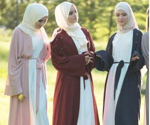 hijab, muslim girl, and abaya image