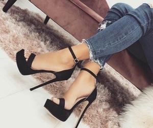 black, denim, and heels image