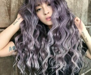 colorful hair, hair, and pastel purple image