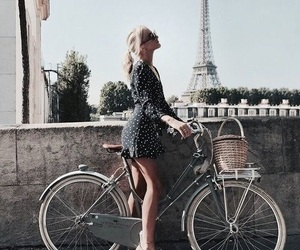 girl, bike, and paris image