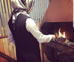 fire place, hijab, and chechen image