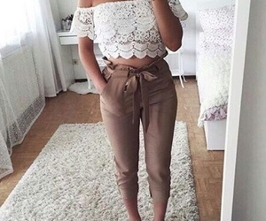 white, brown pants, and fashion image