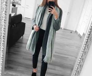 black & white, black pants, and outfit image