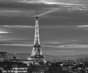 black and white, city, and cloudy image