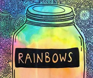 arcoiris, mandala, and mason jar image