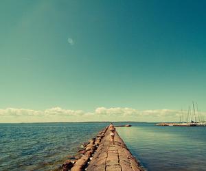 alone, blue sky, and sea image