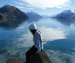 alone, mountains, and water image