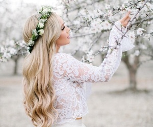 blonde, blossom, and cherry blossom image