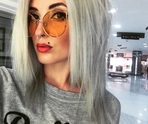 cosmetics, glasses, and grey hair image