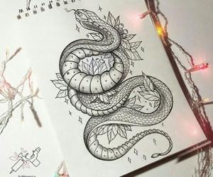 art, snake, and drawing image