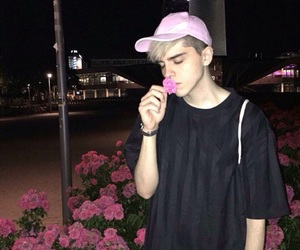 boy, pink, and flowers image