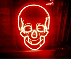 red, neon, and skull image