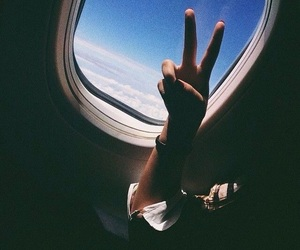 girl, peace, and plane image
