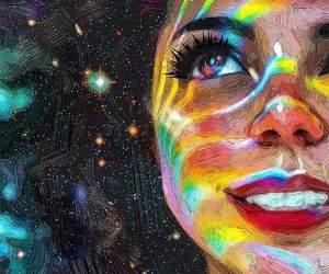 art, rainbow, and stars image