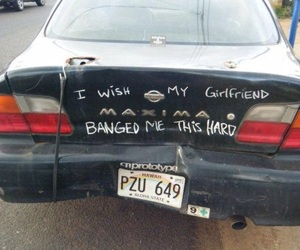 car, funny, and girlfriend image