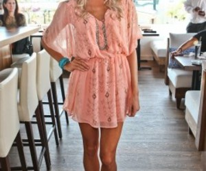 blonde, coral, and dress image