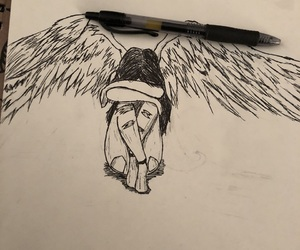 angel, art, and doodle image