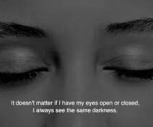 Darkness, eyes, and sad image