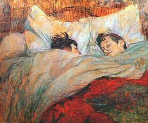 art, bed, and painting image