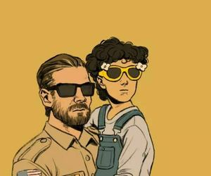 stranger things, eleven, and hopper image