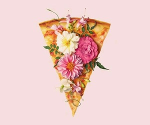 pizza, flowers, and wallpaper image