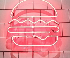 aesthetic, neon sign, and hamburger image