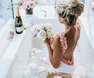 bath, bathtub, and flower image