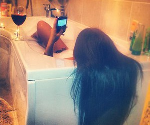 alcohol, bubble bath, and cell phone image
