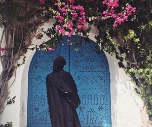 black, blue, and door image