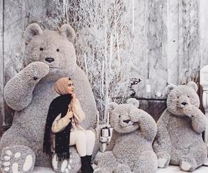 hijab, fashion, and teddy bear image